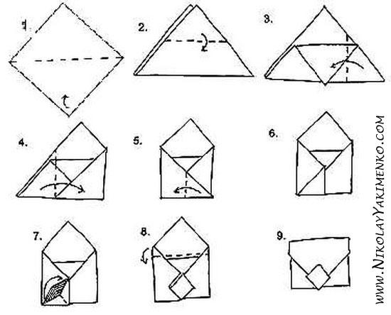 как собрать конверт своими руками, оригами конверт