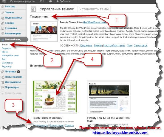 Схема страницы с темой в админ части блога