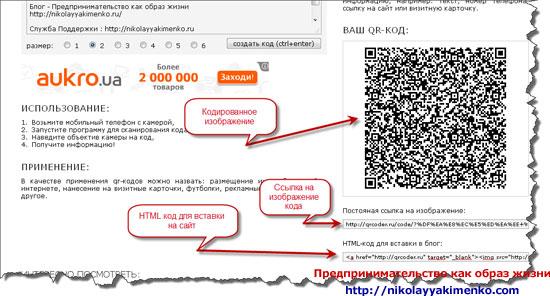 HTML код и ссылка на изображение QR-кода