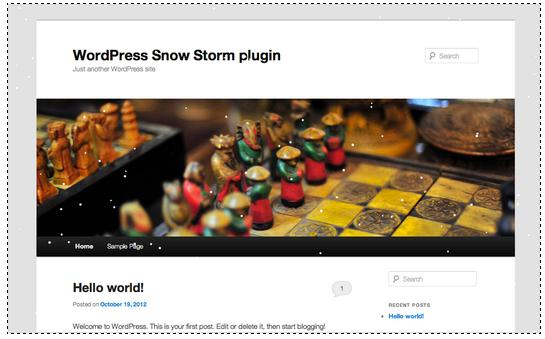 Плагин wordpress Snow Storm