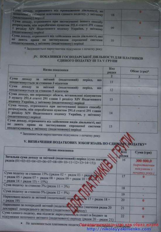 Образец отчета налоговой декларации плательщика единого налога
