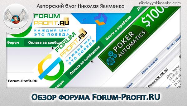 Обзорная статья форума forum-profit.ru