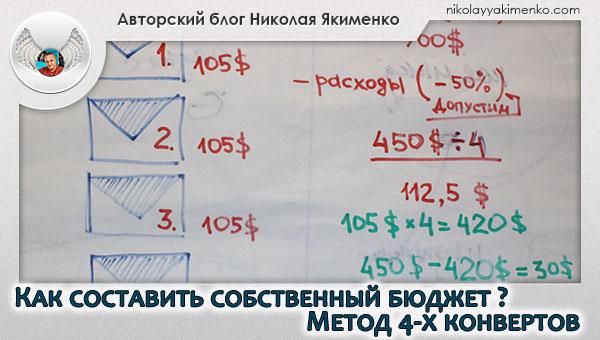 деньги, бюджет, как составить бюджет, метод 4-х конвертов